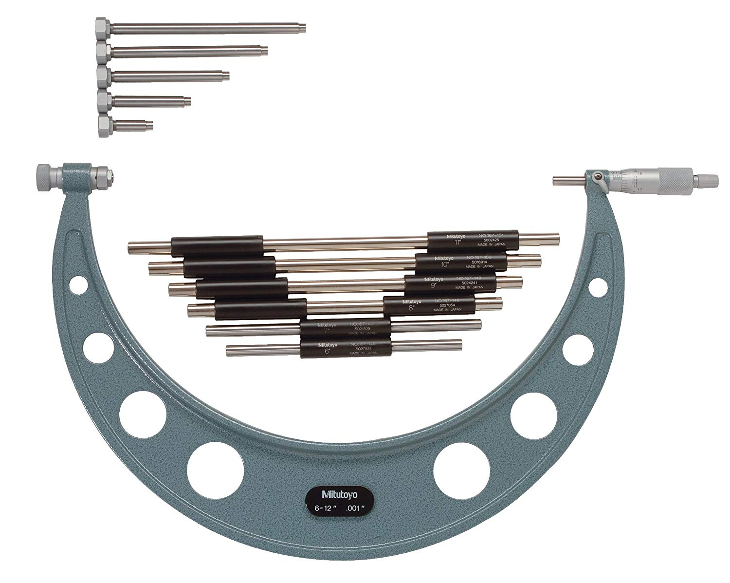 """Carbide Faces 0-6/"""" Outside Micrometer Caliper Set with 6 Interchangeable Anvils"""
