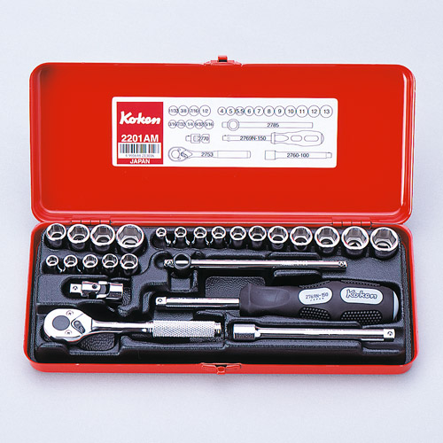 "2201AM Socket Set 12pt 25pc 1/4""Dr  3/16-1/2"" & 4-13mm"