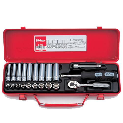 """2277 Std & Deep Socket Set 6pt 21pc 1/4""""Dr 5.5-13mm"""