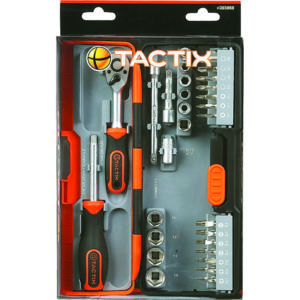 Tactix 40Pc Compact Socket Set 1/4in Dr - Metric
