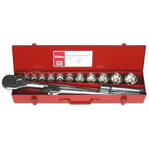"""6268M Socket Set 12pt 15pc 3/4""""Dr 19-50mm"""