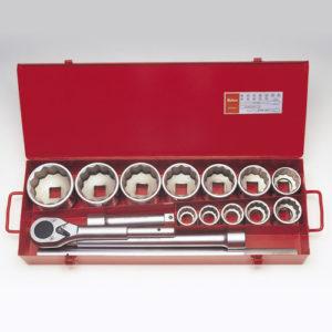 """8225M Socket Set 12pt 15pc 1""""Dr 32-80mm"""