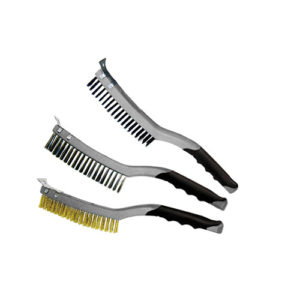 T12813 Wire Brush with Scraper Stainless Steel 3 Row