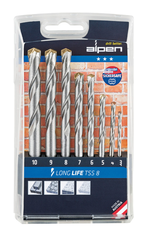 Alpen Set Long Life Concrete TSS8 8 pcs. Ø 3.0-10.0x1.0mm in Plastic Cassette