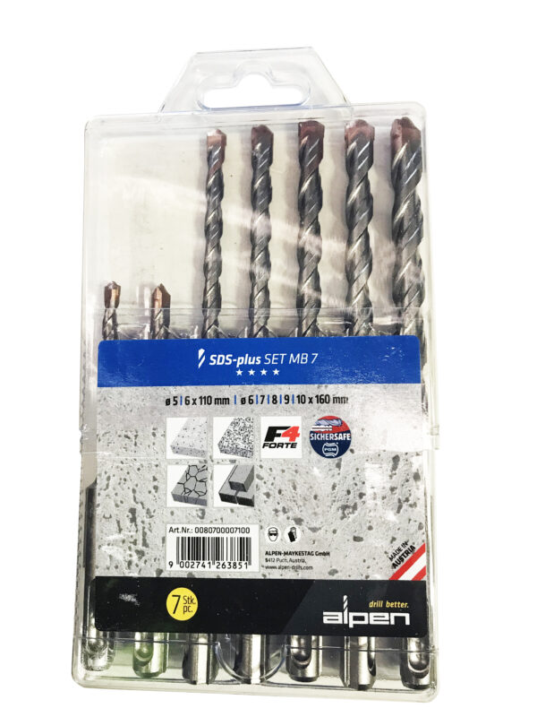 Alpen SDS Plus  2 Flute Masonary Drill MB7 (Set of 7) Ø 5 6mm x 110mm Ø 6 7 8 9 10mm x 160mm
