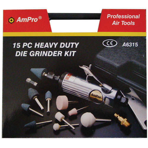 """A6315E Air Die Grinder Kit with 6mm Collet 1/4""""Dr 15pc"""