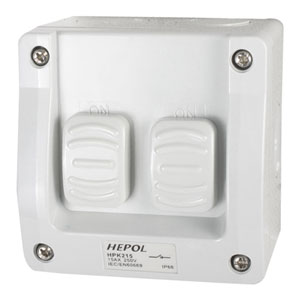 15A WEATHERPROOF 2 GANG SURFACE SWITCH IP66