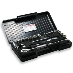 """P2201AM Socket Set 6pt 25pc 1/4"""" Dr 3/16-1/2"""" & 4-13mm in ABS Case"""