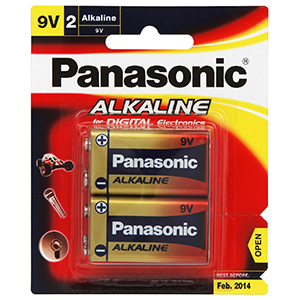 PANASONIC 9V BATTERY ALKALINE (2PK)