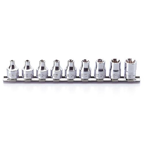 """RS3425 Internal Torx Socket Set On Rail 9pc 3/8""""Dr E4-E16"""