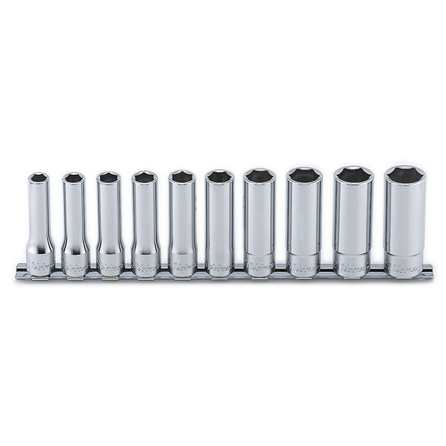 "RS4300M Deep Socket Set On Rail 6pt 10pc 1/2 ""Dr 10-22mm"