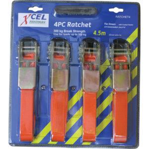 Xcel 4.5m Ratchet Tie Down 4Pc