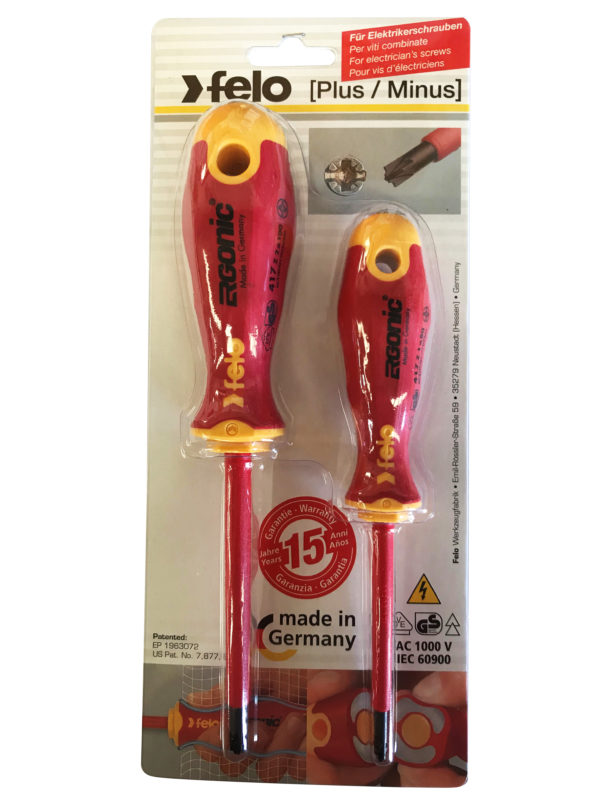 417 Ergonic Insulated Plus/Minus Screwdriver Set of 2 Sizes Z1 and Z2 Hardened Tip