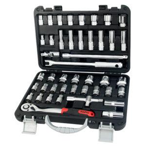 "T46172 45pc 1/2"" Dr 6pt Socket Set 3/8""-1"" & 8-32mm (in Blowcase)"