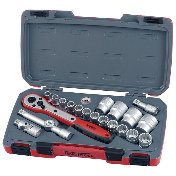 21PC 1/2IN DRIVE 12-POINT SOCKET SET (METRIC)