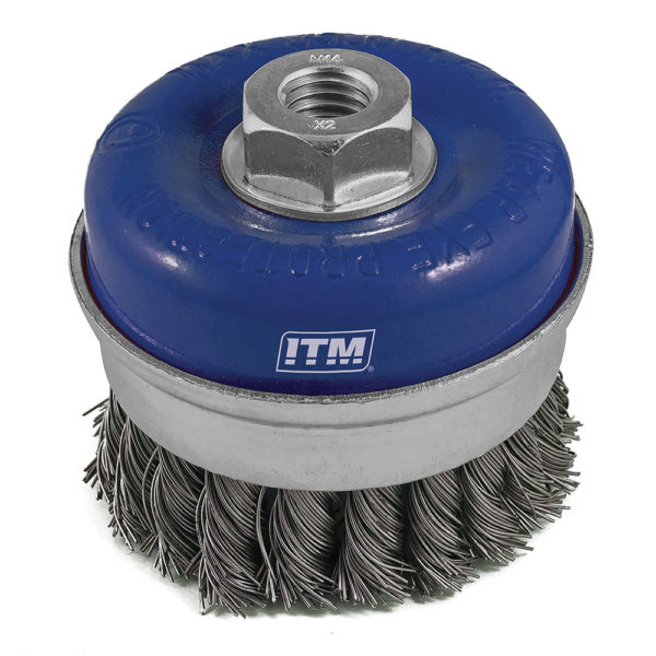 ITM Twist Knot Cup Brush Steel 100mm w/Band
