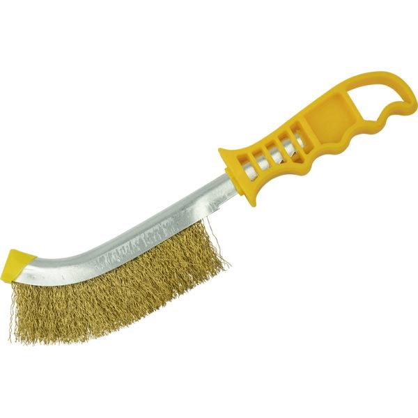 ITM Wire Brush Yellow Handle - Brass Wire