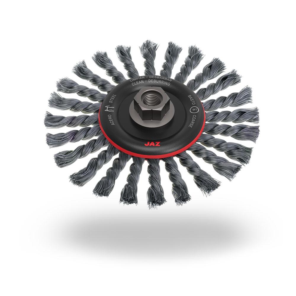 CAM1701K22 Wire Wheel Twist Knot 175mm x 12mm x 0.5mm - 22mm Arbor Hole - Tempered Steel