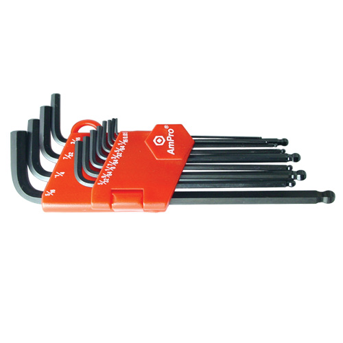 Ampro T22933 Ballpoint Hex Key Set Long 9pc 1.5-10mm