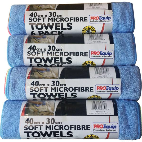 ProEquip 24pc Microfiber Clean-Up Cloths 40cmx30cm (4x6pc)